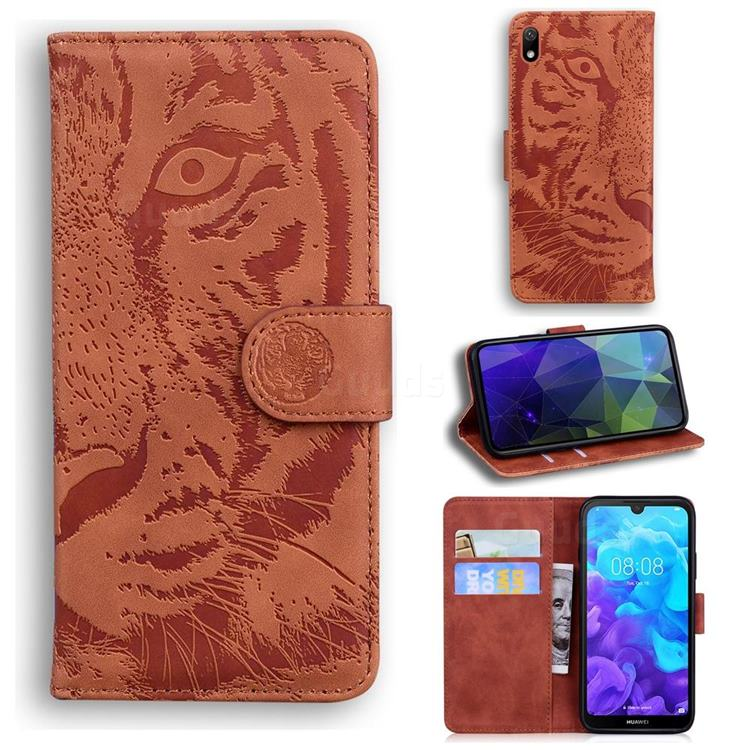 Intricate Embossing Tiger Face Leather Wallet Case for Huawei Y5 (2019) - Brown