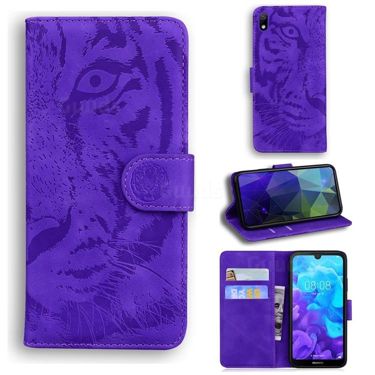 Intricate Embossing Tiger Face Leather Wallet Case for Huawei Y5 (2019) - Purple