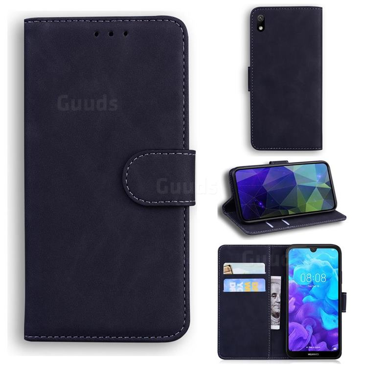 Retro Classic Skin Feel Leather Wallet Phone Case for Huawei Y5 (2019) - Black
