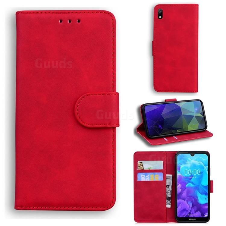 Retro Classic Skin Feel Leather Wallet Phone Case for Huawei Y5 (2019) - Red