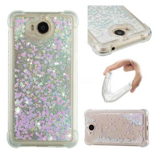 Dynamic Liquid Glitter Sand Quicksand Star TPU Case for Huawei Y5 (2017) - Pink