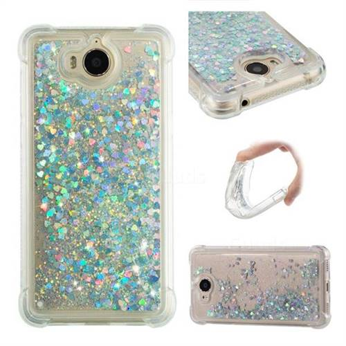 Dynamic Liquid Glitter Sand Quicksand Star TPU Case for Huawei Y5 (2017) - Silver