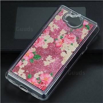 Rose Flower Glassy Glitter Quicksand Dynamic Liquid Soft Phone Case for Huawei Y5 (2017)