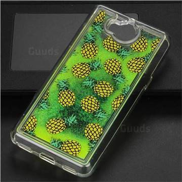 Pineapple Glassy Glitter Quicksand Dynamic Liquid Soft Phone Case for Huawei Y5 (2017)