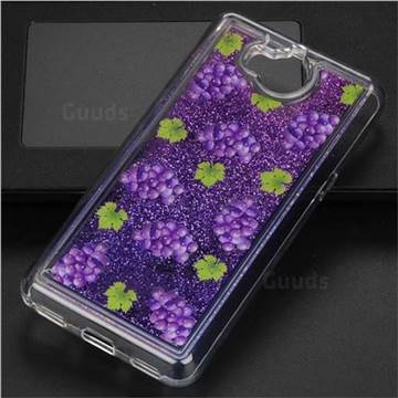 Purple Grape Glassy Glitter Quicksand Dynamic Liquid Soft Phone Case for Huawei Y5 (2017)