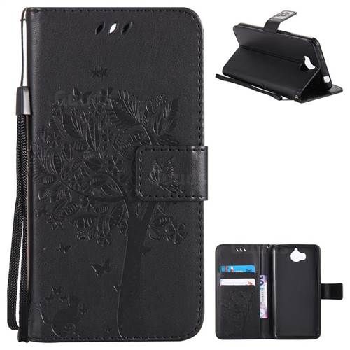 Embossing Butterfly Tree Leather Wallet Case for Huawei Y5 (2017) - Black