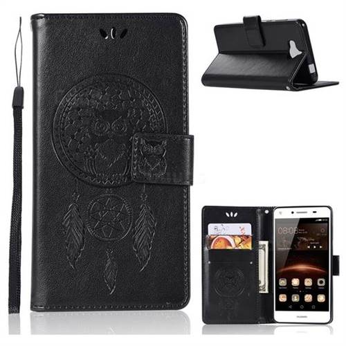 Intricate Embossing Owl Campanula Leather Wallet Case for Huawei Y5 (2017) - Black