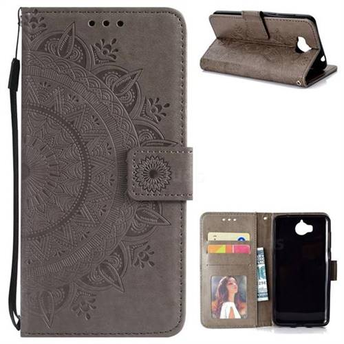 Intricate Embossing Datura Leather Wallet Case for Huawei Y5 (2017) - Gray