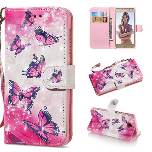 Pink Butterfly 3D Painted Leather Wallet Phone Case for Huawei Y5 (2017)