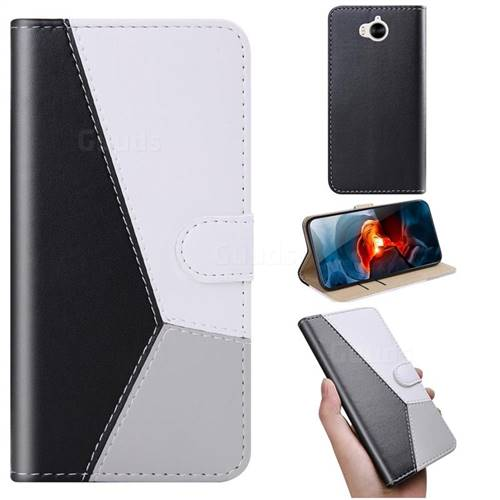 Tricolour Stitching Wallet Flip Cover for Huawei Y5 (2017) - Black