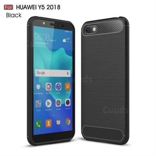 Luxury Carbon Fiber Brushed Wire Drawing Silicone TPU Back Cover for Huawei Y5 Prime 2018 (Y5 2018 / Y5 Lite 2018) - Black
