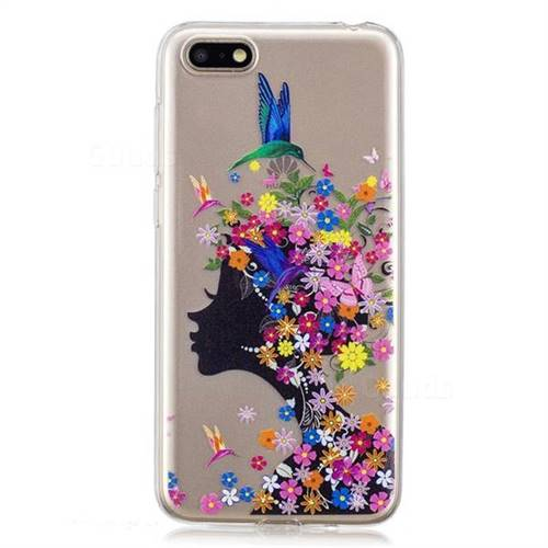 Floral Bird Girl Super Clear Soft TPU Back Cover for Huawei Y5 Prime 2018  (Y5 2018 / Y5 Lite 2018)