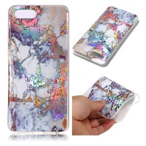 Gold Plating Marble Pattern Bright Color Laser Soft TPU Case for Huawei Y5 Prime 2018 (Y5 2018)