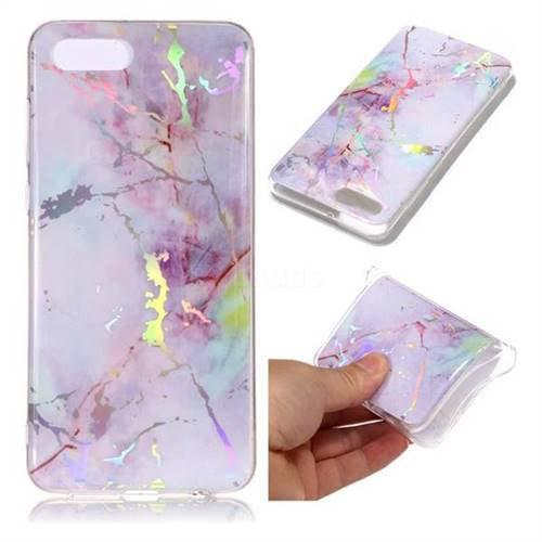 Pink Purple Marble Pattern Bright Color Laser Soft TPU Case for Huawei Y5 Prime 2018 (Y5 2018)