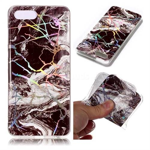 White Black Marble Pattern Bright Color Laser Soft TPU Case for Huawei Y5 Prime 2018 (Y5 2018)