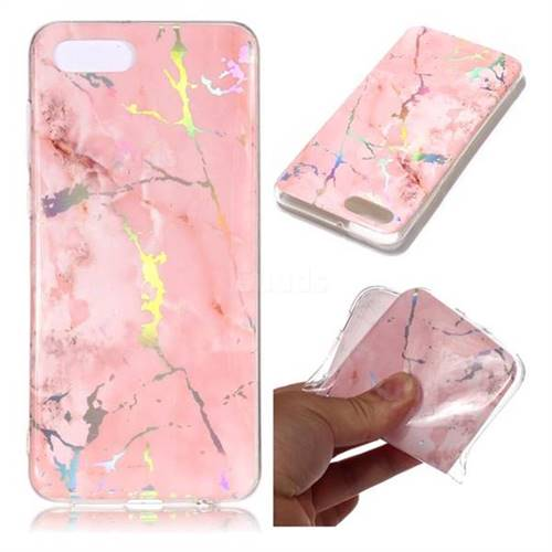 Powder Pink Marble Pattern Bright Color Laser Soft TPU Case for Huawei Y5 Prime 2018 (Y5 2018 / Y5 Lite 2018)