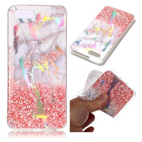 Powder Sandstone Marble Pattern Bright Color Laser Soft TPU Case for Huawei Y5 Prime 2018 (Y5 2018)