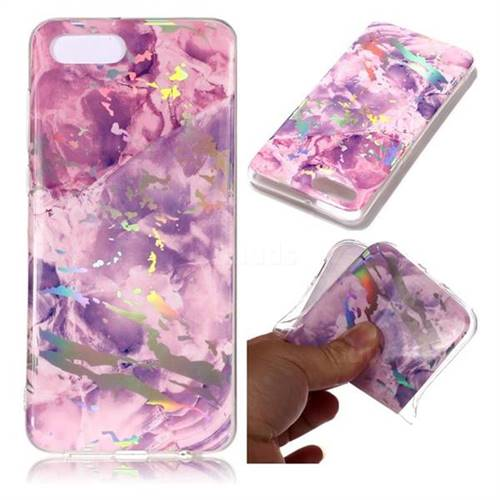 Purple Marble Pattern Bright Color Laser Soft TPU Case for Huawei Y5 Prime 2018 (Y5 2018 / Y5 Lite 2018)