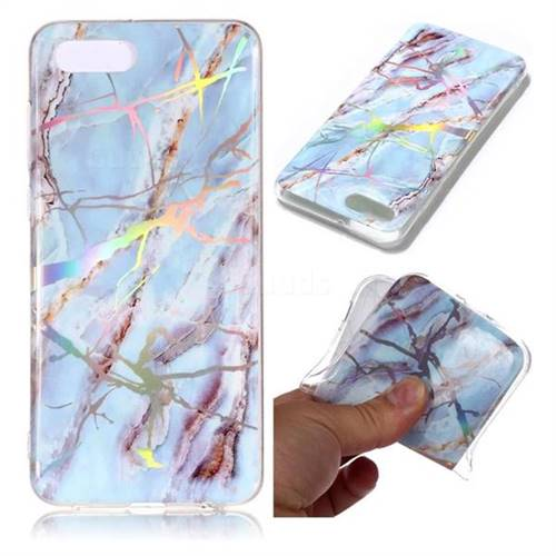 Light Blue Marble Pattern Bright Color Laser Soft TPU Case for Huawei Y5 Prime 2018 (Y5 2018 / Y5 Lite 2018)