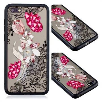 Tulip Lace Diamond Flower Soft TPU Back Cover for Huawei Y5 Prime 2018 (Y5 2018)