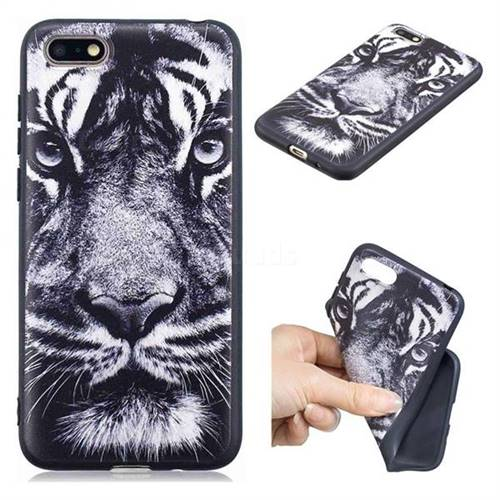 White Tiger 3D Embossed Relief Black TPU Cell Phone Back Cover for Huawei Y5 Prime 2018 (Y5 2018)
