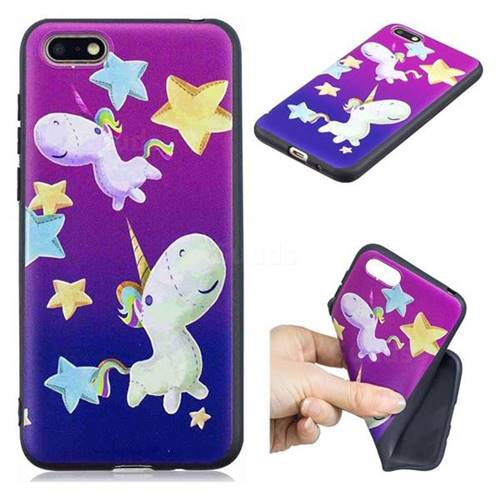 Pony 3D Embossed Relief Black TPU Cell Phone Back Cover for Huawei Y5 Prime 2018 (Y5 2018)