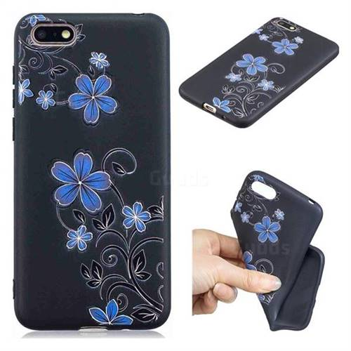Little Blue Flowers 3D Embossed Relief Black TPU Cell Phone Back Cover for Huawei Y5 Prime 2018 (Y5 2018 / Y5 Lite 2018)