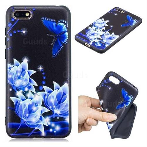 Blue Butterfly 3D Embossed Relief Black TPU Cell Phone Back Cover for Huawei Y5 Prime 2018 (Y5 2018)