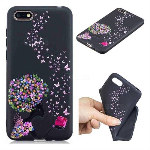 Corolla Girl 3D Embossed Relief Black TPU Cell Phone Back Cover for Huawei Y5 Prime 2018 (Y5 2018)
