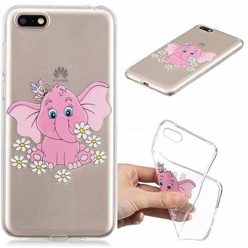 Tiny Pink Elephant Clear Varnish Soft Phone Back Cover for Huawei Y5 Prime 2018 (Y5 2018)