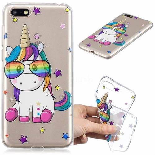 Glasses Unicorn Clear Varnish Soft Phone Back Cover for Huawei Y5 Prime 2018 (Y5 2018)