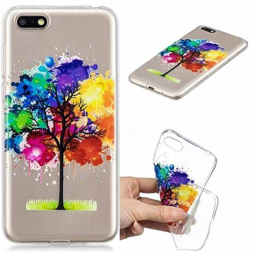 Oil Painting Tree Clear Varnish Soft Phone Back Cover for Huawei Y5 Prime 2018 (Y5 2018)