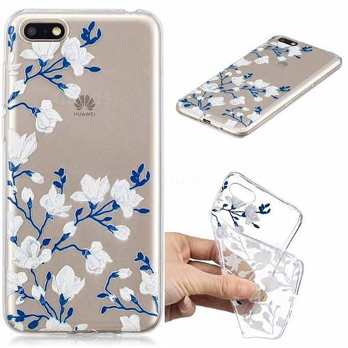 Magnolia Flower Clear Varnish Soft Phone Back Cover for Huawei Y5 Prime  2018 (Y5 2018 / Y5 Lite 2018)