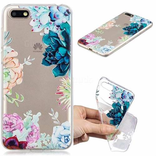 Gem Flower Clear Varnish Soft Phone Back Cover for Huawei Y5 Prime 2018 (Y5 2018)