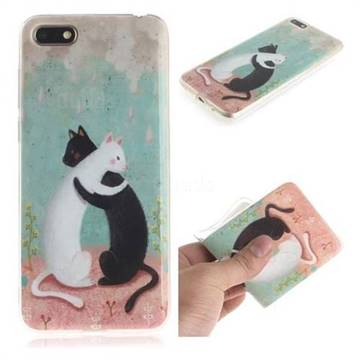 Black and White Cat IMD Soft TPU Cell Phone Back Cover for Huawei Y5 Prime 2018 (Y5 2018)