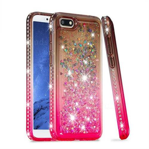 Diamond Frame Liquid Glitter Quicksand Sequins Phone Case for Huawei Y5 Prime 2018 (Y5 2018 / Y5 Lite 2018) - Gray Pink