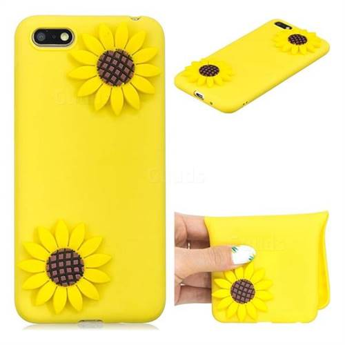 Yellow Sunflower Soft 3D Silicone Case for Huawei Y5 Prime 2018 (Y5 2018 / Y5 Lite 2018)