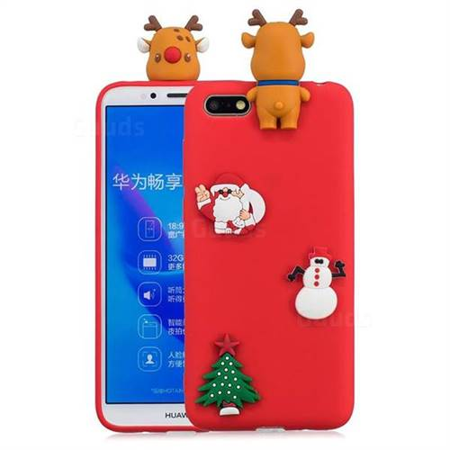 Red Elk Christmas Xmax Soft 3D Silicone Case for Huawei Y5 Prime 2018 (Y5 2018)