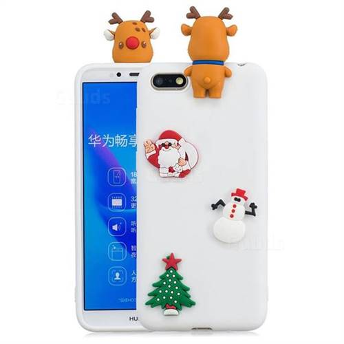 White Elk Christmas Xmax Soft 3D Silicone Case for Huawei Y5 Prime 2018 (Y5 2018)