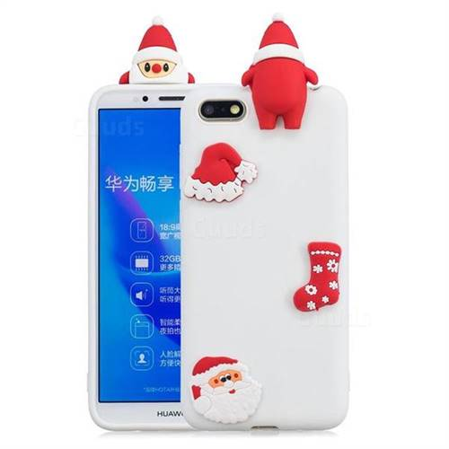 White Santa Claus Christmas Xmax Soft 3D Silicone Case for Huawei Y5 Prime 2018 (Y5 2018)