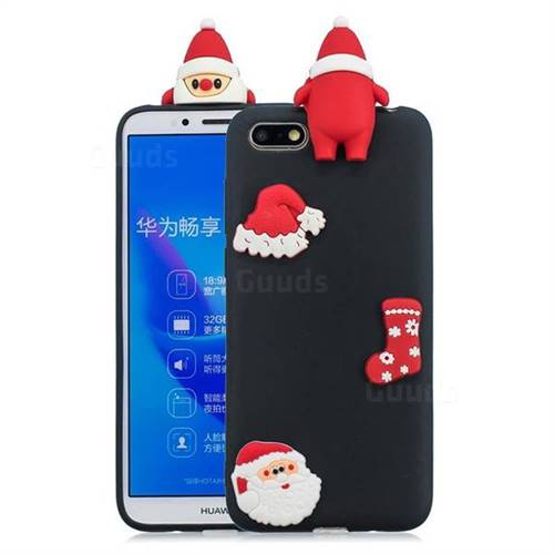Black Santa Claus Christmas Xmax Soft 3D Silicone Case for Huawei Y5 Prime 2018 (Y5 2018 / Y5 Lite 2018)