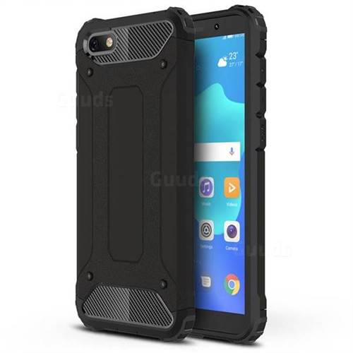 King Kong Armor Premium Shockproof Dual Layer Rugged Hard Cover for Huawei Y5 Prime 2018 (Y5 2018 / Y5 Lite 2018) - Black Gold