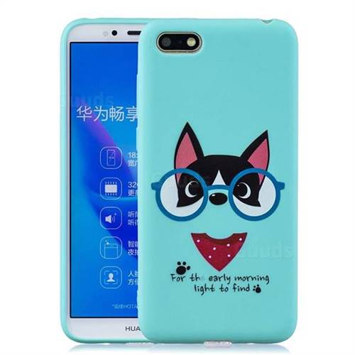 Green Glasses Dog Soft Kiss Candy Hand Strap Silicone Case for Huawei Y5  Prime 2018 (Y5 2018 / Y5 Lite 2018)