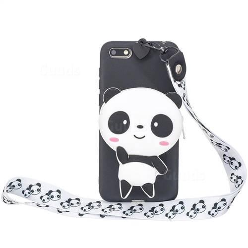 White Panda Neck Lanyard Zipper Wallet Silicone Case for Huawei Y5 Prime 2018 (Y5 2018 / Y5 Lite 2018)