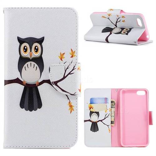 Owl on Tree Leather Wallet Case for Huawei Y5 Prime 2018 (Y5 2018 / Y5 Lite 2018)