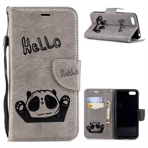 half off 320c2 331f5 Embossing Hello Panda Leather Wallet Phone Case for Huawei Y5 Prime 2018  (Y5 2018 / Y5 Lite 2018) - Grey - Leather Case - Guuds