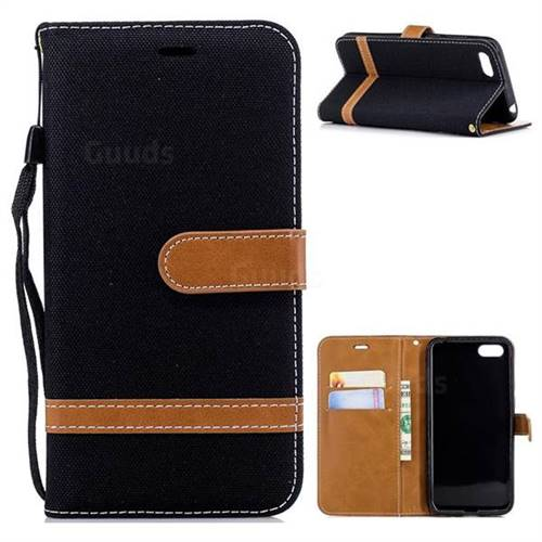 Jeans Cowboy Denim Leather Wallet Case for Huawei Y5 Prime 2018 (Y5 2018) - Black