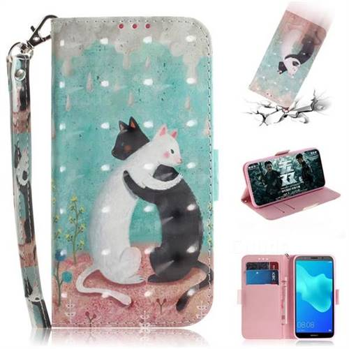 Black and White Cat 3D Painted Leather Wallet Phone Case for Huawei Y5 Prime 2018 (Y5 2018 / Y5 Lite 2018)