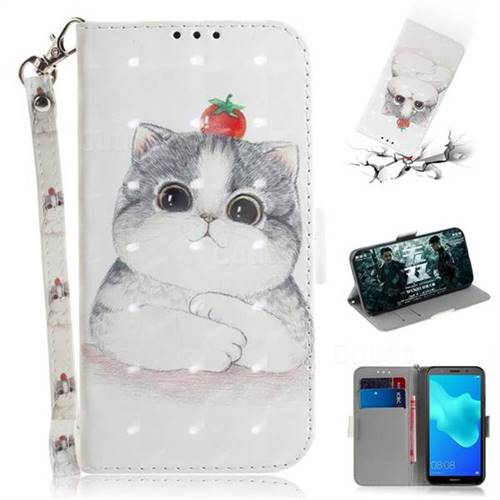Cute Tomato Cat 3D Painted Leather Wallet Phone Case for Huawei Y5 Prime 2018 (Y5 2018 / Y5 Lite 2018)