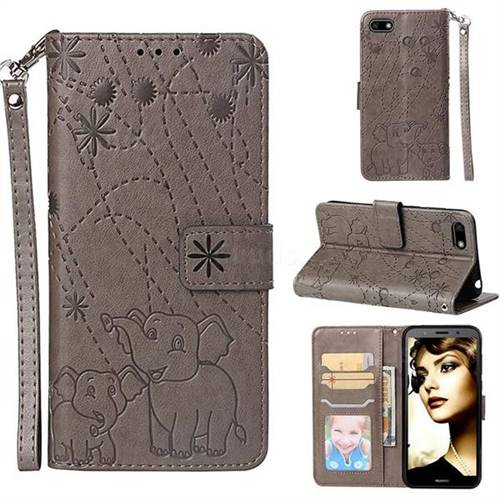 Embossing Fireworks Elephant Leather Wallet Case for Huawei Y5 Prime 2018 (Y5 2018) - Gray